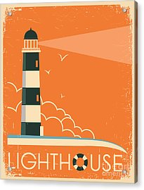 Lighthouse And Sky On Old Poster Acrylic Print