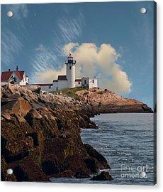 Lighthouse At Cape Ann's Harbor Acrylic Print