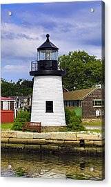 Lighthouse At Mystic Seaport Acrylic Print by John Hoey
