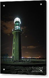 Acrylic Print featuring the photograph Lighthouse At Night by Mohamed Elkhamisy