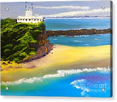 Acrylic Print featuring the painting Lighthouse At Nobbys Beach Newcastle Australia by Pamela  Meredith