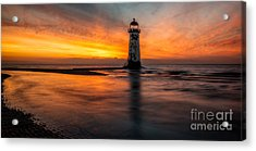 Lighthouse At Sunset Acrylic Print by Adrian Evans