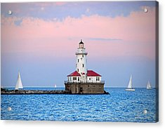 Lighthouse At The Navy Pier Acrylic Print by Lynn Bauer