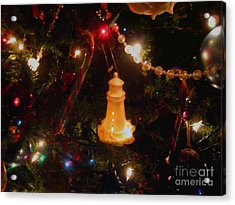 Acrylic Print featuring the photograph Lighthouse Christmas by Roxy Riou