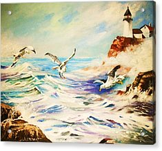 Lighthouse Gulls And Waves Acrylic Print