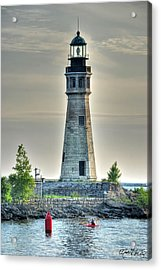 Lighthouse Just Before Sunset At Erie Basin Marina Acrylic Print by Michael Frank Jr