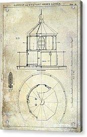 Lighthouse Lantern Order Blueprint Antique Acrylic Print