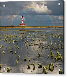 Lighthouse Meets Rainbow Acrylic Print