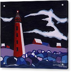 Acrylic Print featuring the painting Lighthouse Miniature by Joyce Gebauer