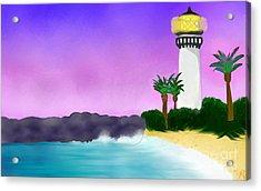 Lighthouse On Beach Acrylic Print by Anita Lewis
