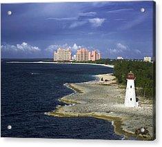Lighthouse On Colonial Beach With Atlantis Paradise Resort Bahamas Acrylic Print