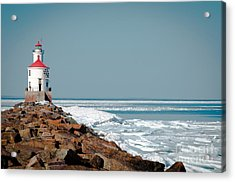 Lighthouse On Stone And Ice Acrylic Print