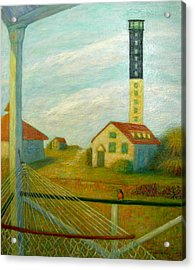 Acrylic Print featuring the painting Lighthouse On Sullivan's Island by Jeanne Kay Juhos