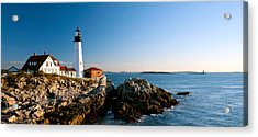 Lighthouse On The Coast, Portland Head Acrylic Print by Panoramic Images