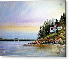 Acrylic Print featuring the painting Lighthouse On The Island by Dorothy Maier