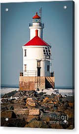 Acrylic Print featuring the photograph Lighthouse On The Rocks by Mark David Zahn