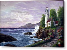 Acrylic Print featuring the painting Lighthouse Retreat by Rick Fitzsimons