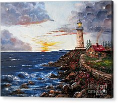 Lighthouse Road At Sunset Acrylic Print by Lee Piper