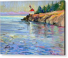 Lighthouse San Juan Island Acrylic Print by Ron Wilson