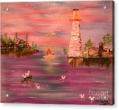 Acrylic Print featuring the painting Lighthouse Serenade by Denise Tomasura