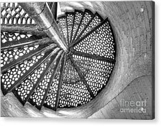 Lighthouse Stairs In Black And White Acrylic Print by Twenty Two North Photography