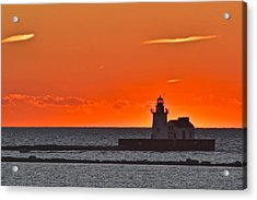 Lighthouse Sunset Acrylic Print by Frozen in Time Fine Art Photography