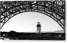 Lighthouse Under Golden Gate Acrylic Print by Holly Blunkall
