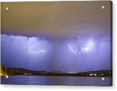 Lightning And Rain Over Rocky Mountain Foothills Acrylic Print by James BO  Insogna