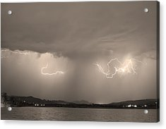 Lightning And Sepia Rain Over Rocky Mountain Foothills Acrylic Print by James BO  Insogna