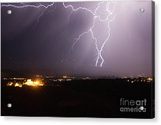 Lightning And The Douglas Mansion In Jerome Arizona Acrylic Print