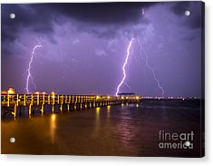 Lightning At The Pier Acrylic Print