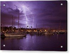 Lightning Behind Santa Barbara Harbor  Mg_6541 Acrylic Print