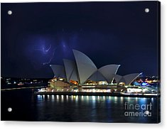 Lightning Behind The Opera House Acrylic Print by Kaye Menner