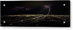 Lightning In The Sky Over A City Acrylic Print
