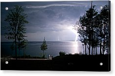 Lightning On Lake Michigan At Night Acrylic Print by Mary Lee Dereske