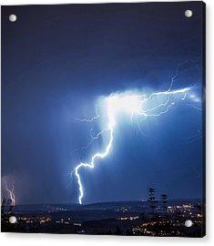 Lightning Over City Acrylic Print by Hans-peter Semmler / Eyeem