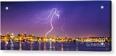 Lightning Over Downtown Portland Maine Acrylic Print by Benjamin Williamson
