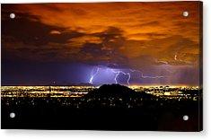 Lightning Over Phoenix  Acrylic Print by Saija  Lehtonen