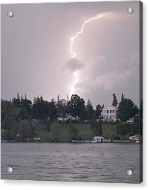 Lightning Over Skaneateles Lake Acrylic Print by Robert Green