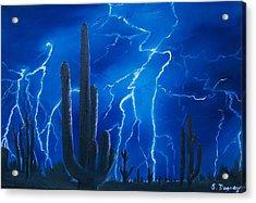 Lightning  Over The Sonoran Acrylic Print