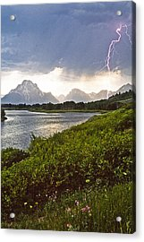 Acrylic Print featuring the photograph Lightning Over The Tetons by Judi Baker