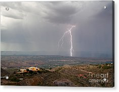 Lightning Storm Over The Verde Valley As Seen From Jerome Arizona Acrylic Print