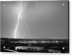 Lightning Strike Boulder Reservoir And Coot Lake Bw Acrylic Print by James BO  Insogna