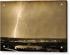 Lightning Strike Boulder Reservoir And Coot Lake Sepia 2 Acrylic Print by James BO  Insogna
