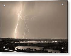 Lightning Strike Boulder Reservoir And Coot Lake Sepia Acrylic Print by James BO  Insogna
