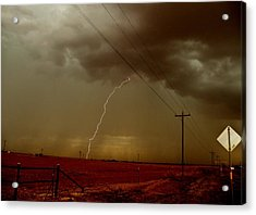 Lightning Strike In Oil Country Acrylic Print by Ed Sweeney