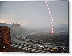 Lightning Strike Near Green River Acrylic Print