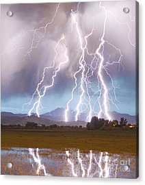 Lightning Striking Longs Peak Foothills 4c Acrylic Print
