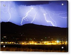 Lightning Striking Over Ibm Boulder Co 3 Acrylic Print by James BO  Insogna