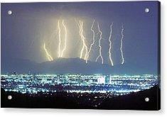 Lightning Striking Over Phoenix Arizona Acrylic Print by James BO  Insogna